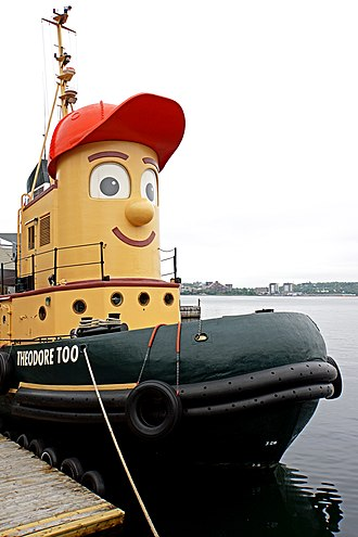 Theodore Tugboat - Theodore Too, a fullsize replica of Theodore Tugboat, titular star of the children's show, docked at Murphys Cable Wharf provides tours of Halifax Harbour in the summer.