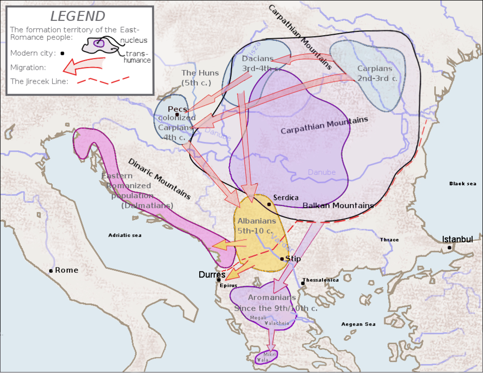 Theoretical map of Romanian origins