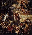 Tintoretto, Jacopo - Moses Striking Water from the Rock - 1577.jpg