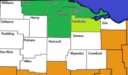 The counties in dark green are within the Toledo MSA, whereas the county in light green is the Fremont Micropolitan area and is only included in the Toledo-Fremont, OH CSA. All counties in white are generally considered to be Northwest Ohio.