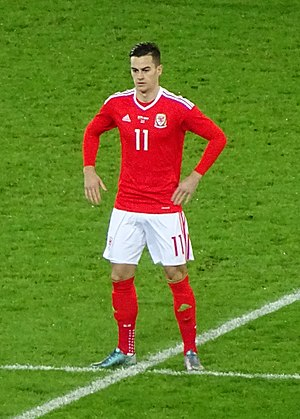 Tom Lawrence - Lawrence playing for Wales in 2015.