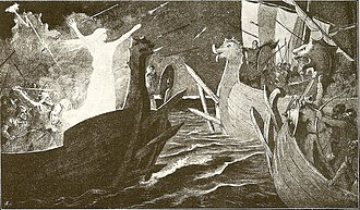 Þorgerðr Hölgabrúðr and Irpa - An illustration depicting Þorgerðr Hǫlgabrúðr facing the fleet of the Jomsvikings (1895) by Jenny Nyström.