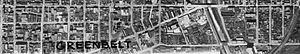 Corktown, Toronto - Aerial view showing most of Corktown before demolitions, 1942