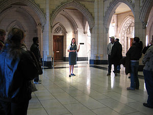 Guide - A tour guide at the Centre Block in Canada.