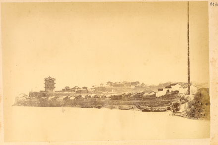 The Yellow Crane Tower on the southern bank of the Yangtze River (1874) Town of Wuhan on the Bank of the Yangzi River, with View of the Huanghe Tower, Buildings, and Boats. Hubei Province, China, 1874 WDL2103.png