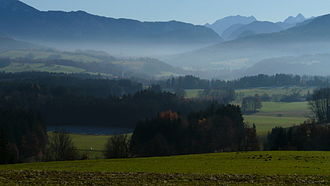 Traunstein - View south towards the Alps from the Hochberg, Traunstein