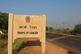 Tropic of cancer wikipedia sign marking the tropic of cancer in madhya pradesh india gumiabroncs Image collections