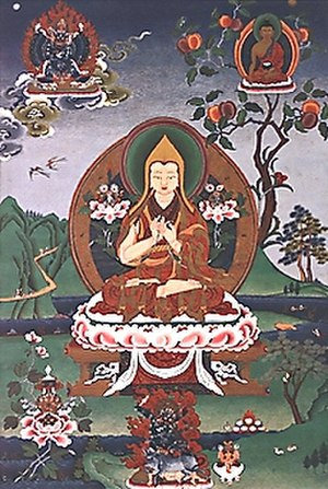 New Kadampa Tradition - Je Tsongkhapa (Tsong-kha-pa), founder of the Gelug school, in the fifth vision of Khedrub Jey (Mkhas-'grub)