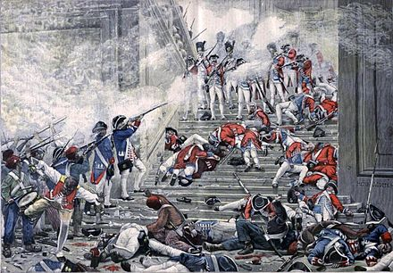 Swiss Guards on the grand staircase of the palace during the storming of the Tuileries Tuileries Henri Motte.jpg