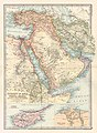 Turkey in Asia, Persia, Arabia, Egypt and Nile Countries 1879 Atlas map by John Bartholomew.jpg