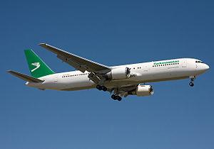 Transport in Turkmenistan - Turkmenistan Airlines Boeing 767-300ER.