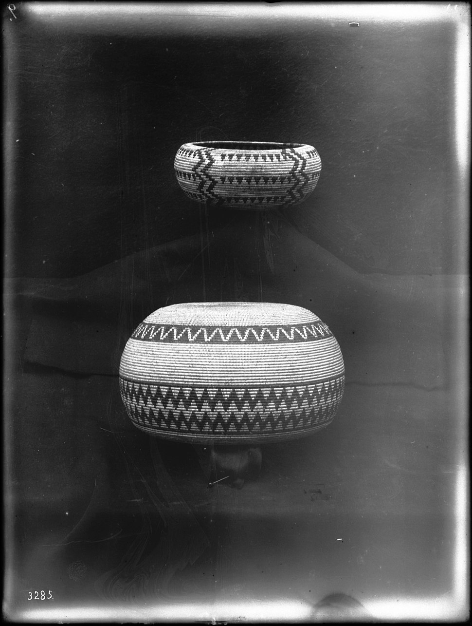 Two Indian baskets on display, ca.1900 (CHS-3285)