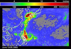 Typhoon Soudelor (2003) - Satellite rainfall estimates from Typhoon Soudelor between June 13 and 20