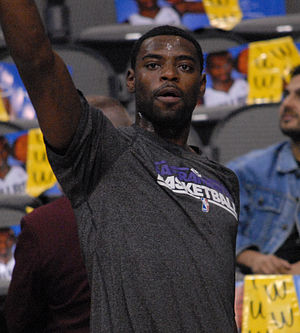 Tyreke Evans - Evans warming up before a game in 2012 as a member of Sacramento