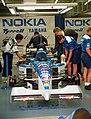Tyrrell 023 - Ukyo Katayama in the pit garage at the 1995 British GP, Silverstone (49713882157).jpg