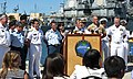 U.S. Navy Adm. Harry Harris, at lectern, the commander of U.S. Pacific Fleet, announces the beginning of Rim of the Pacific (RIMPAC) 2014 during a press conference June 30, 2014, at Joint Base Pearl 140630-N-WF272-084.jpg