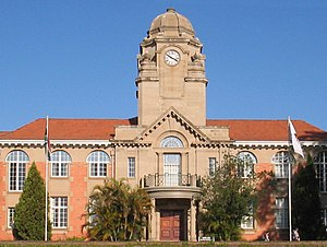 Pietermaritzburg - Clock tower of the university's Collin Webb Hall