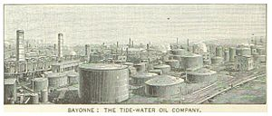 Tidewater Petroleum - Constable Hook, Bayonne, New Jersey - the Tidewater Oil Co. refinery complex in 1890, delivery by rail transport