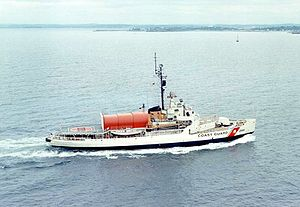 USCGC Edisto underway. Note the red, telescoping hangar for her helicopter.