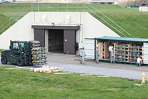 RAF Welford - USAF munitions being loaded into a container in 2012