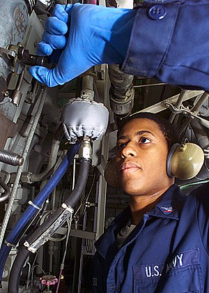 Engineman - Image: US Navy 030304 N 1512S 120 Engineman performs checks on a Diesel Rack Alignment aboard the amphibious assault ship USS Kearsarge (LHD 3)