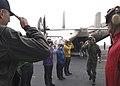 US Navy 040615-N-8497H-024 Commander 3rd Fleet, Vice Adm. Michael J. McCabe passes through rainbow sideboys.jpg