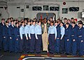 US Navy 050521-N-6776G-001 Midshipmen from the U.S. Naval Academy pose with USS Belleau Wood (LHA 3) Commanding Officer Capt. Robert L. Ford.jpg