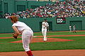 US Navy 050613-N-8110K-061 Commanding Officer, USS Shreveport (LPD 12), Capt. Terry Kraft, throws out the first pitch at Fenway Park in Boston before the Boston Red Sox game against the Cincinnati Reds.jpg