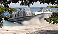 US Navy 051029-N-9222M-148 A U.S. Navy Landing Craft, Air Cushion (LCAC), assigned to Assault Craft Unit Five (ACU-5) and deployed from the amphibious assault ship USS ESSEX (LHD 2), hits the beach.jpg