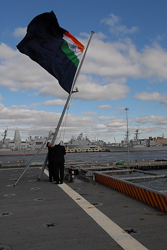 USS Trenton (LPD-14) - The Trenton becomes the Jalashwa as the Indian Navy jack is raised on the ship.