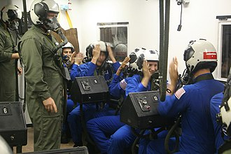Uncontrolled decompression - NASA astronaut candidates being monitored for signs of hypoxia during training in an altitude chamber.