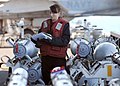 US Navy 110217-N-DM338-087 Aviation Ordnanceman 3rd Class Shirley Shugar takes inventory of ordnance in the bomb farm aboard USS Ronald Reagan (CV.jpg