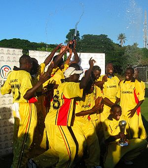 Uganda national cricket team - Uganda celebrate winning Division Three of the World Cricket League in 2007