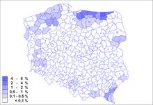 Mappa che illustra la distribuzione degli ucraini in Polonia