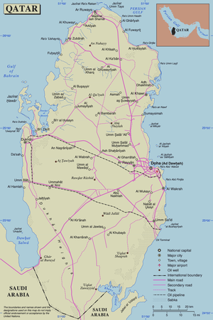 Outline of Qatar - An enlargeable map of the State of Qatar