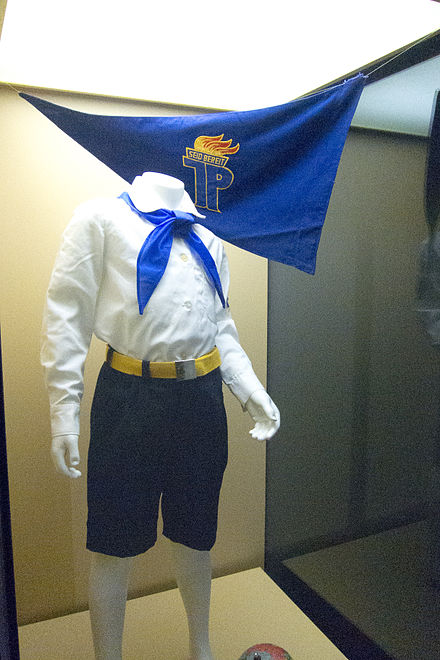 Uniform of the Young Pioneers, worn by both boys and girls Uniform of the East German Young Pioneers.jpg