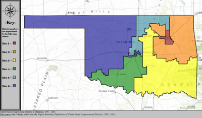 United States Congressional Districts in Oklahoma, 1993 - 2002.tif