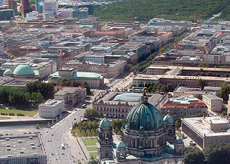 Unter den Linden - Unter den Linden from Berlin Cathedral to Brandenburg Gate and Tiergarten park, view from Fernsehturm, 2005