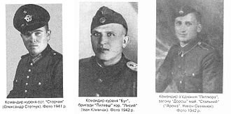 Ukrainian Insurgent Army - UPA Commanders left to right: Oleksander Stepchuk, Ivan Klimchak, Nikon Semeniuk 1941-1942