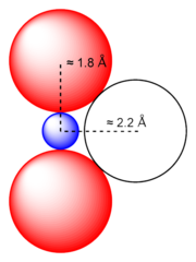 Diagram of a uranyl ion. The formation of two short U-O bonds in the uranyl ion prevents the closer approach of a third oxygen atom.