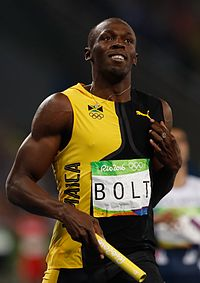 Usain Bolt after 4 × 100 m Rio 2016.jpg