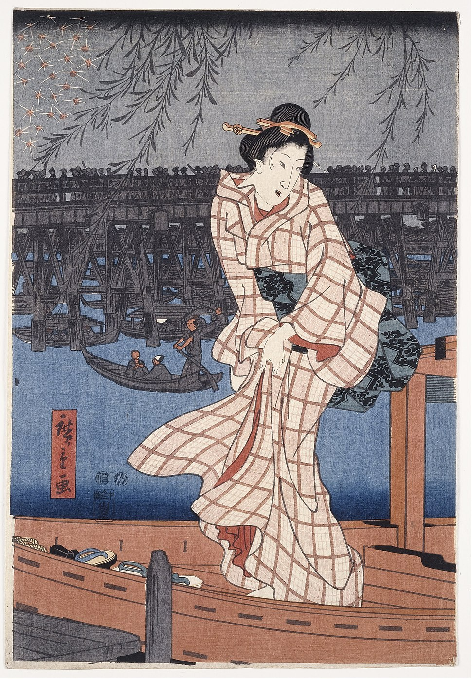 Utagawa Hiroshige - Evening on the Sumida river - Google Art Project