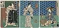 Utagawa Kunisada II - Actors Sawamura Tanosuke III as Aburaya Okon, Bandô Hikosaburô V as Fukuoka Mitsugi, and Kawarazaki Gonjûrô I as Chef Kisuke.jpg