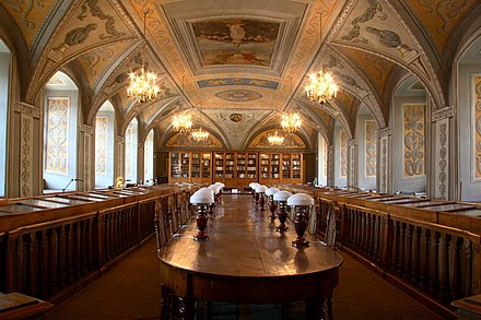 One of the 16th century Central Vilnius University Library reading rooms, decorated in 1803 with the portraits of the 12 most prominent figures in antique art and science VU bibliotekos Smugleviciaus sale.JPG
