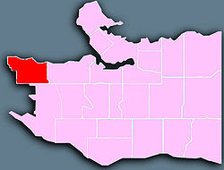 Location of West Point Grey in Vancouver