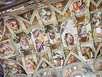 Restoration of the Sistine Chapel frescoes - A post-restoration section of the ceiling of the Sistine Chapel that includes the two panels reproduced above
