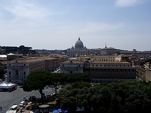 Outline of Vatican City - View of Vatican City from the Castel Sant'Angelo in Rome