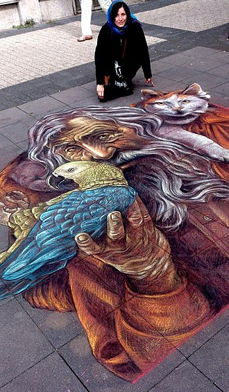 "Street painting - Vera Bugatti, ""The Storytellers"", 35th international street painting competition in Geldern"