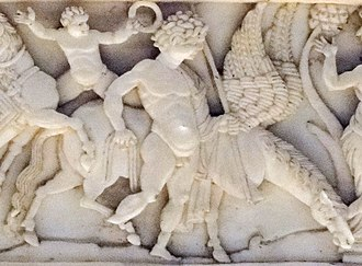 Bellerophon - Veroli Casket panel detail showing Bellerophon with Pegasus, dating from 900–1000 AD.