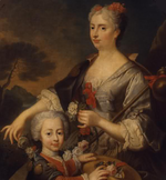 Victoire Françoise of Savoy, Princess of Carignan and her son Louis Victor by an unknown artist.png